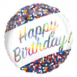 "Foil Balloon - Iridescent Birthday Confetti - 18"""