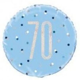 "Foil Balloon-Standard 18""-70th Birthday-Blue and Irid"