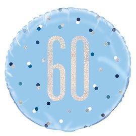 "Foil Balloon-Standard 18""-60th Birthday-Blue and Irid"