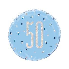 "Foil Balloon-Standard 18""-50th Birthday-Blue and Irid"