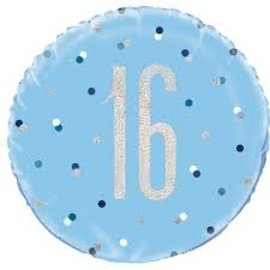 "Foil Balloon-Standard 18""-16th Birthday-Blue and Irid"