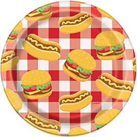 "Beverage Paper Plates-Burger BBQ-8pk-7"""
