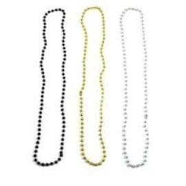 "Bead Necklaces - (Gold/Black/ Silver) 4 PK - 60"""