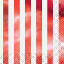 Napkins-LN-Metallic Red Stripes-16pk-2ply