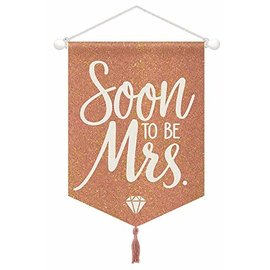 Blush Wedding Hanging Glitter Sign- Soon To Be Mrs.