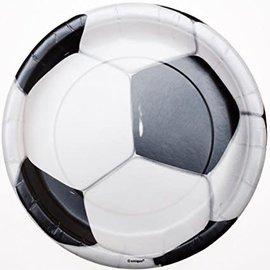 Plates-LN-3D Soccer-9''-8pk-Paper