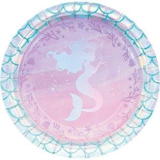 "Beverage Paper Plates-Mermaid Shine-8pk-7"""