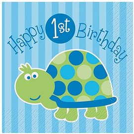 Beverage Napkins-First Birthday Turtle-16pk-2ply-Discontinued/Final Sale