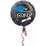 Foil Balloon-Congrats Grad Black
