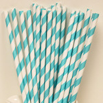 Paper Straws - 24 count/Striped Teal Lagoon/White