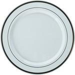 Plastic Dinner Plates- Rose Gold and White