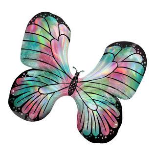 Foil Balloon - Supershape - Iridescent Teal & Pink Butterfly