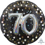 Foil Ballon-3D Supershape-70th Birthday-Black and Gold