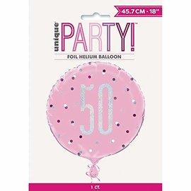 "Foil Balloon-Standard-50th Birthday-Glitz Pink-18"""