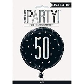 "Foil Balloon-Standard-50th Birthday-Glitz Black-18"""