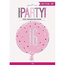 "Foil Balloon-Standard-16th Birthday-Glitz Pink-18"""