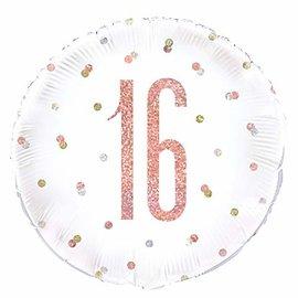 "Foil Balloon-Standard-16th Birthday-Glitz Rose Gold-18"""