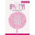 "Foil Balloon-Standard-60th Birthday-Glitz Pink-18"""
