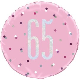 "Foil Balloon-Standard-65th Birthday-Glitz Pink-18"""