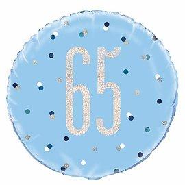 "Foil Balloon-Standard-65th Birthday-Glitz Blue-18"""