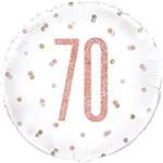 "Foil Balloon-Standard-70th Birthday-Glitz Rose Gold-18"""