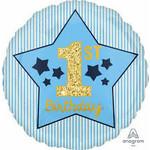 "Foil Balloon-Standard-1st Birthday-Boy-18"""