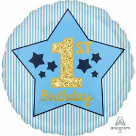 Foil Balloon-Standard-1st Birthday-Boy-18""