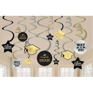Swirl Decorations - Congrats Grad - 12pk