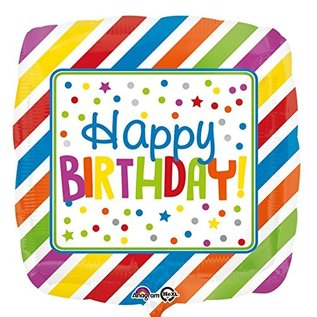"""Foil Balloon -  HBD Square Stripes and Dots - 17"""""""
