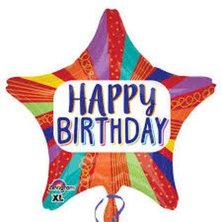 "Foil Balloon - Happy birthday striped star - 18"" - 1pc"
