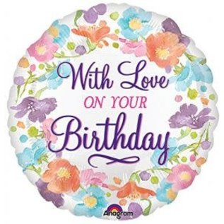 """Foil Balloon - With Love on Your Birthday - 18"""" - 1pc"""