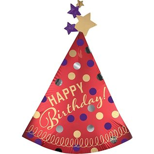 """Foil Balloon - Happy Birthday - Red Satin Party Hat - 36"""""""