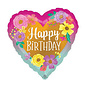 """Foil Balloon - Happy Birthday Painted Flowers - 18"""" - 1pc"""