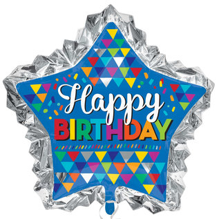 Foil Balloon - Happy Birthday Super Shape - Primary Sketchy Pattern