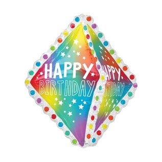 "Foil Balloon Happy Birthday - Ultra Shape Ruffle - 27"""