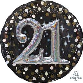 "Foil Balloon - Hollo Sparkling Birthday 21st -27"""