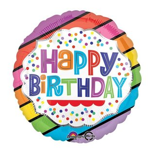 Foil Balloon - Happy Birthday Bright Stripes