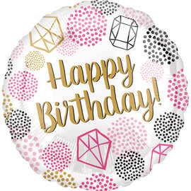 "Foil Balloon - Happy Birthday Gem - 18"""