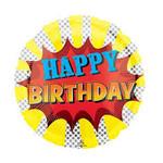 "Foil balloon - Super Hero Birthday - 18"" - 1pc"