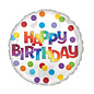 "Foil Balloon - Happy Birthday Dots of Color - 18"" - 1pc"