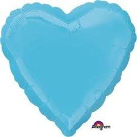 """Foil Balloon - Light Blue - Heart - 17"""""""