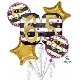 Foil Balloon Bouquet - 65th Birthday - 5 Balloons - 2.3ft