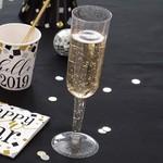 Champagne Glasses Flutes - Clear Gold Glitter - 4 pk - 7 oz