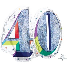 Foil Balloon Bouquet - 40th Birthday - Glitter and White - 5pk