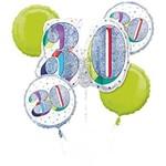 Foil Balloon Bouquet - 30th Birthday - Glitter and White - 5pk