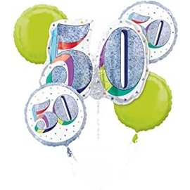Foil Balloons - 50th Birthday - Glitter and White (5 pack)