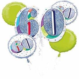 Foil Balloon Bouquet - 60th Birthday - Glitter and White - 5pk