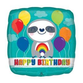 """Foil Balloon - HBD Sloth Rainbow - 18"""""""