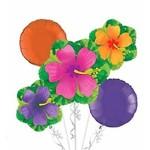 Foil Balloon - Tropical Flowers Summer - 5 pk