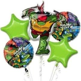 Foil Balloon Bouquet - Ninja Turtles - 5pk